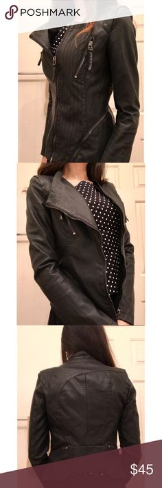Fitted Vegan Leather Jacket Super feminine silhouette with the padded shoulders, very unique and fits snug. Dry clean only* Jackets & Coats