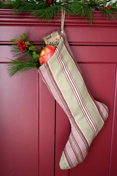 Classic Striped Christmas Stocking  Ticking by WonderfulLifeFarm