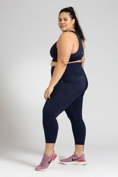 Simple, stylish, squat proof and pocket free, our Women's Activewear Navy Leggings in length are available in sizes in sizes Small to Navy Leggings, Downward Dog, Size 16, Perfect Fit, Active Wear, Tights, Essentials, Pockets, Crop Tops