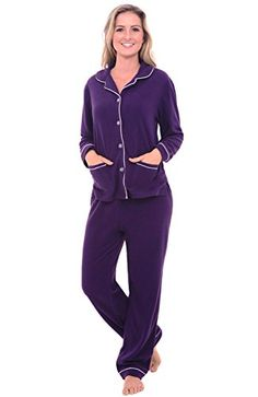Women's Sleepwear - Del Rossa Womens Fleece Pajamas Long Button Down Pj Set >>> Continue to the product at the image link.