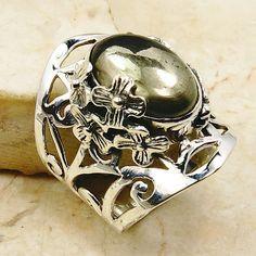 Golden Garden Healer's Gold Pyrite in Magnetite & .925 Sterling Silver Ring Size 5.75