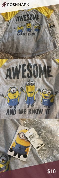 AWESOME and We Know It! Kids xl shirt NEw With Tags AWESOME and We Know It! Kids Yellow Grey Black Blue xl shirt, Despicable Me Minion Universal Studio Please see photos for additional details. Thanks and Kind Regards Despicable Me  Shirts & Tops Tees - Short Sleeve