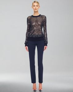 Cashmere Paillette Sweater & Samantha Slim Pants by Michael Kors at Neiman Marcus.