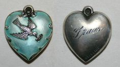 Sterling Silver Puffy Heart Charm Repousse Messenger Bird with Blue Enamel sold 76.99 ebay