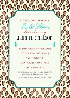 Bridal Shower Invitations Colorful Leopard Print By Katiedidesigns 13 00 S Invites