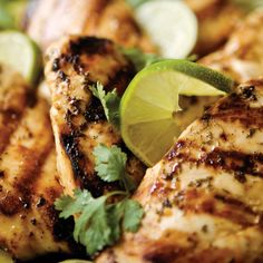 Garlic, red pepper, lime and cilantro make a zesty marinade for chicken breasts before putting them on the grill.