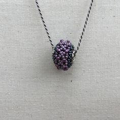 Beaded Bead Purple,Pink and pewter by ThReAdTeDs on Etsy