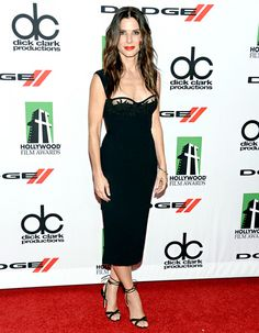 Sandra Bullock in a gorgeous little black dress by DSquared2.