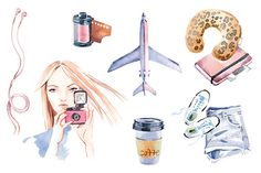 Watercolor travel clipart set by masha gross on Creative Market