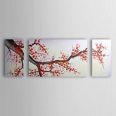 現代アートなモダン キャンバスアート 絵 壁 壁掛け 油絵の特大抽象画3枚で1セット 花柄 植物 梅の花 ピンク 豪華【納期】お取り寄せ2~3週間前後で発送予定【送料無料】ポイント【楽天市場】