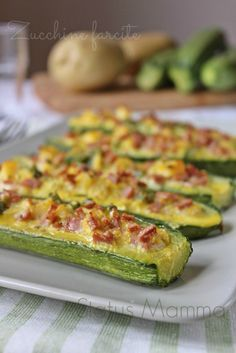 Stuffed courgettes tasty recipe - Stuffed courgettes tasty recipe: excellent second course, or as an appetizer with smaller stuffed c - Italian Dishes, Italian Recipes, Snack Recipes, Cooking Recipes, Healthy Recipes, Antipasto, Vegetable Dishes, Food Design, Diy Food