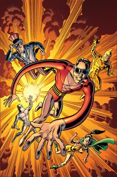 Weird Science: Convergence: Plastic Man and The Freedom Fighters . Dc Heroes, Comic Book Heroes, Comic Books Art, Book Art, Rip Hunter, Green Lantern Corps, Aquaman, Gotham, Gold