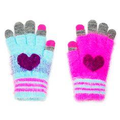 Fuzzy Hearts Techie Gloves