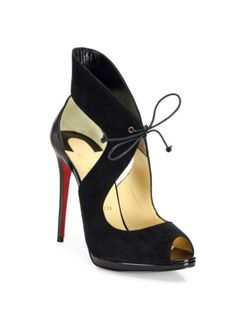 Christian Louboutin - Campanina 120 Suede & Leather Front-Tie Sandals
