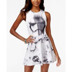 Juniors' Star Wars Stormtrooper Printed Fit-and-Flare Dress from... ($20) ❤ liked on Polyvore featuring dresses, white, white fit flare dress, fit & flare dress, white dress, fit and flare dress and mighty fine