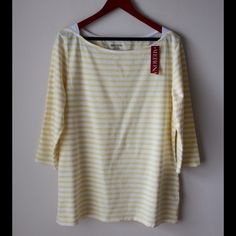 "Striped Merona top Yellow and white striped top - boat neckline - three quarter sleeves - cotton/spandex style - new with tags - chest across measures 21"" - total length measures 28"" - size XXL Merona Tops"