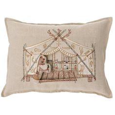 12 X 16 Bear Apothecary Tent is a new pocket pillow evocative of the old west. Bear has the potions and remedies on display to cure all the forest creatures. Removable embroidered cover on 100% natura