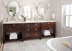 Traditional Bathroom Design Idea By Chalet Pottery Barn Oval Rustic Wood Mirror • Designer Bathroom Vanity Units • Denver Architects & Designers