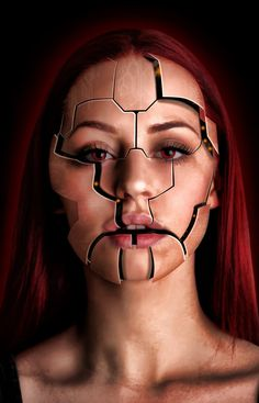 Resultado de imagen para psychiatric patient make up fx Robot Makeup, Sfx Makeup, Makeup Art, Monster Makeup, Visage Halloween, Maquillaje Halloween, Amazing Halloween Makeup, Halloween Face Makeup, Make Up Gesicht