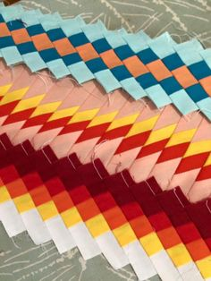 Seminole Indian patchwork strips made by Dueling Thimbles. Message for a tutorial or help.