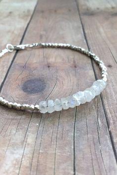 Moonstone Bracelet, Hill Tribe Silver Jewelry, Natural Stone Bracelet, Rainbow Moonstone Jewelry, June Birthstone Jewelry, Custom Bracelet
