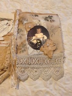 Mixed Media OOAK Fabric Lace Collage Book Scrapbook Album | eBay