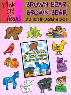Brown Bear, Brown Bear - Bulletin Board Set from kac2877 from kac2877 on TeachersNotebook.com (50 pages)  - PDF - Titles, Borders, Characters and Color/Name Cards!