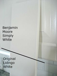 Benjamin Moore Simply White-matches IKEA cabinet paint
