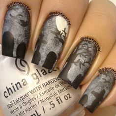 halloween by sloteazzy Fabulous Nails, Gorgeous Nails, Love Nails, How To Do Nails, Fun Nails, Nails Opi, Nail Manicure, Gothic Nails, French Acrylic Nails