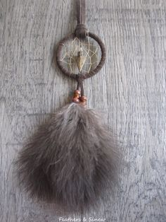 Dream Catcher Chocolate Brown Suede with Turkey Fluffs ~ Car Mirror by FeathersandSinew on Etsy