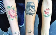 Tattooer Eva Krbdk creates unique tattoos in the style of cross-stitch embroidery. #craft #tattoo #crossstitch
