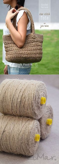 Bag of jute yarn crochet. Crochet Baby Hats, Crochet Gifts, Crochet Yarn, Crochet Flower Squares, Granny Square Crochet Pattern, Crochet Handbags, Crochet Purses, Crochet Cross, Knitted Bags