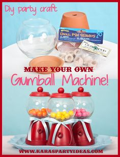DIY Tutorial: Make Your Own Bubble Gum Machine! Great candyland birthday party favors via Kara's Party Ideas. #diy #tutorial #gumball #machine #candyland #birthday #party #ideas