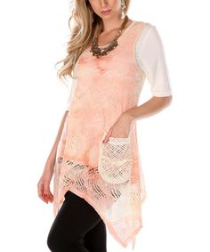 Look at this #zulilyfind! Lily Cream & Pink Crocheted Sidetail Sleeveless Tunic by Lily #zulilyfinds