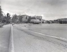 Waikiki Beach from Young Bath House September 4, 1935 Pan-Pacific Press Bureau Photo please credit Moana Hotel horizontal