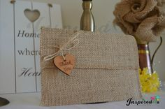 Thank You Hessian Vintage Rustic Wedding Burlap Envelope Invitation Wooden Heart