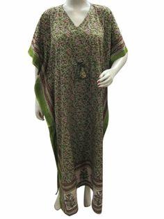 Amazon.com: Womens Caftans Olive Green Printed Cotton Kaftan Dresses Plus Size: Clothing