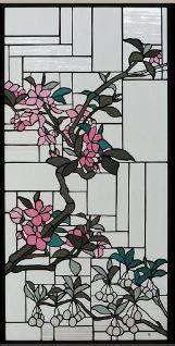 Japanese style stained glass panel  Mandshurica and Mantenboshi - Glass Studio Tappu