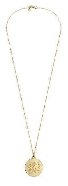 """Women's 7/8"""" 14k Gold Monogram Disc Necklace (Engravable)"""