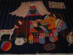"Finnish fabric panel ""Huomenta"" Good morning;  Made in Finland byTampella, 1978. ""Oma Koti Kullan Kallis"" 35 in X 48 1/2 in cotton print. by AletaVintageFinds on Etsy"