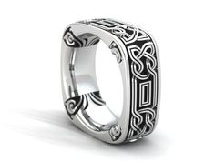 Celtic knot Band that has rounded square corners.  Made is Sterling Silver with a bold Celtic design.  The inside corners are a wonderful addition to this unique design.