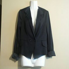 BEBE black blazer 10 BEBE black blazer in size 10. It has double buttons in the front. It is a lined jacket and worn a few times. It is 70% rayon which gives it a satin look. It is in great condition and is very stylish. bebe Jackets & Coats Blazers