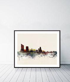 grand rapids city skyline .colorful pop art minimalist Rapid City, Watercolours, Pop Art, Minimalist, Skyline, Colorful, Unique Jewelry, Frame, Handmade Gifts