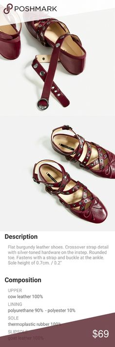 Zara leather ballet flats with straps and studs 6 New with tag attached. Gorgeous Zara ballerina flats in a beautiful burgundy wine leather. Grommets, studs, wrap - oh my :) Sold out & surprisingly comfortable. US size 6 Euro 36 Zara Shoes Flats & Loafers