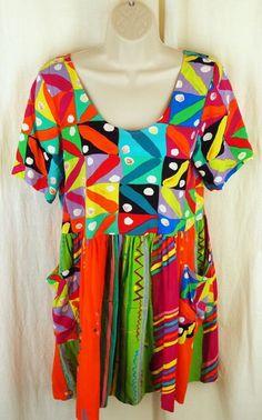 Jams World Hattie Dress Small Super Pattern Scoop Neck Pockets Shirred Waist #JamsWorld #Hattie #Casual