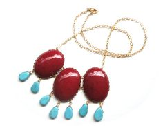 Red Turquoise Statement Bib Necklace - Big, Bold, Bright Summer Fashion - Large Stone Bubble Necklace