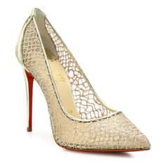 """Mesh point-toe pumps with swirly metallic overlaySelf-covered heel, 4"""" (100mm)Metallic leather, polyester and viscose upperPoint toeLeather"""