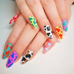 Cutie cow print 🐄🐄🐄 thank you 💖 All colours are 🧡💛💚💙💜❤️ I've still got some appointments available this… Minimalist Nails, Summer Acrylic Nails, Best Acrylic Nails, Summer Nails, Aycrlic Nails, Hair And Nails, Shellac Nail Art, Nail Nail, Glitter Nails