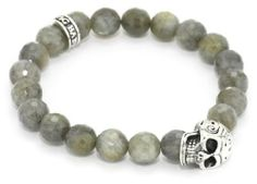 """King Baby """"Day of the Dead"""" with 10mm Labradorite Men's Skull Bead Bracelet King Baby. $280.00. Made in United States. Hand carved"""