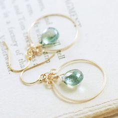 Teal Quartz Chandelier Earrings 14k Gold Fill Aqua by aubepine